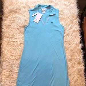 Lacoste NWT sleeveless v cut turquoise/teal dress